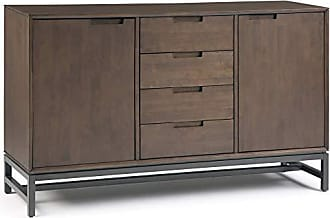 Simpli Home Simpli Home AXCBAN-10 Banting Solid Hardwood and Metal 60 inch Wide Modern Industrial Sideboard with Centre Drawers in Walnut Brown