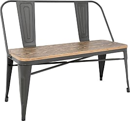 LumiSource Oregon Industrial Indoor Dining Bench - BC-OR GY+BN