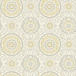 Brewster Home Fashions Annabel Yellow Medallion Wallpaper - 2704-81002