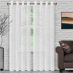 Home City Inc. Superior Quality Lightweight Embroidered Lattice Sheer Stainless Grommets Window Treatment Curtain Panel (Set of 2) 52 x 108 - White