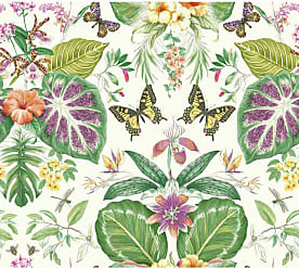 York Wallcoverings Outdoors In Tropical Butterflies Wallpaper Orange/Hot Pink - ON1600
