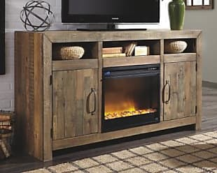 Ashley Furniture Sommerford 62 TV Stand with Electric Fireplace, Brown