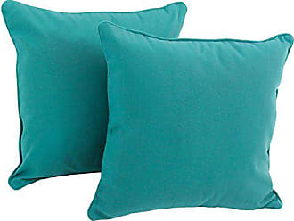 Blazing Needles Solid Twill Double-Corded Square Throw Pillows with Inserts (Set of 2), 18, Berry Berry
