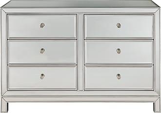 Elegant Furniture & Lighting Dresser 6 drawers 48W x 18D x 32H in antique silver paint