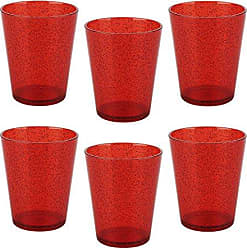 Zak designs 6 Piece Spritz 16.5oz Durable Plastic Lowball Tumbler for Indoor and Outdoor Use, Red SP