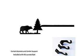 Village Wrought Iron 60 Inch Bear/Pine Curtain Rod Med