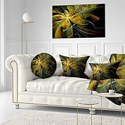 DESIGN ART Designart PT11996-40-20 Symmetrical Fractal Flower in Gold Modern Floral Canvas Wall Art, 40x20, Black