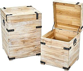 Nearly Natural White Wash Storage Boxes/Trunks (Set of 2), 2 Piece