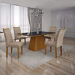 Leifer Conjunto Sala de Jantar Mesa Tampo MDF/Vidro Preto 4 Cadeiras Pampulha Leifer Imbuia Mel/Linho Bege