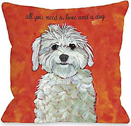 One Bella Casa 11022PL16 Love and A Dog Pillow by Ursula Dodge, 16 x 16, Red/Orange