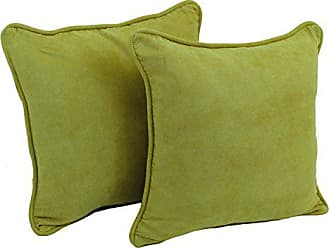 Blazing Needles Solid Microsuede Double-Corded Square Throw Pillows with Inserts (Set of 2), 18, Mojito Lime