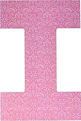 Stupell Industries Stupell Home Décor Pink Damask 18 Inch Hanging Wooden Initial, 12 x 0.5 x 18, Proudly Made in USA