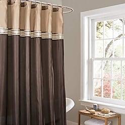 Lush Décor Terra Color Block Shower Curtain Fabric Striped Neutral Bathroom Decor, 72 by 72-Inch, Brown/Beige