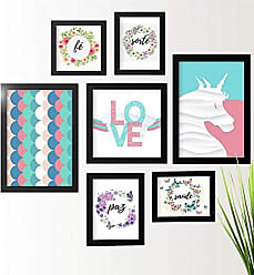 Los Quadros Kit de Quadros Decorativos 7 Peças Unicórnio Los Quadros Preto