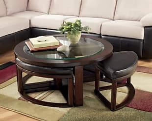 Ashley Furniture Marion Coffee Table with Nesting Stools, Dark Brown