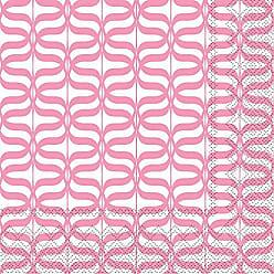 Boston International L738800 Rosanne Beck Collections Lunch Paper Napkins 6.5 x 6.5 Flamingo Stripe