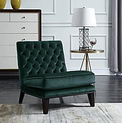 Iconic Home FAC2696-AN Achilles Modern Neo Traditional Tufted Velvet Slipper Accent Chair, Green