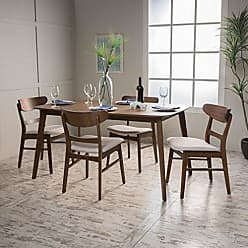 GDF Studio Christopher Knight Home 299279 Helen Mid Century Fabric & Wood 5 Piece Dining Set | in Walnut/Light Beige