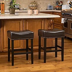 GDF Studio Christopher Knight Home 296230 Chantal Bonded Leather Studded Accent Bar stools (Set of 2) (Chocolate Brown)