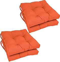 Blazing Needles Solid Twill Square Tufted Chair Cushions (Set of 4), 16, Tangerine Dream