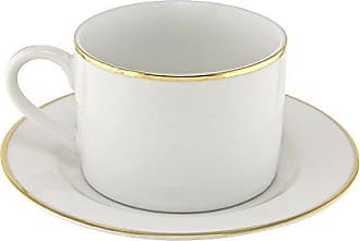 10 Strawberry Street Gold Line 6 Oz Can Cup and Saucer, Set of 6, White/Gold