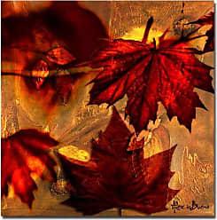 Ready2HangArt Fall Flowers Abstract Botanical Modern Contemporary Canvas Wall Art Print, 30 x 30, Red