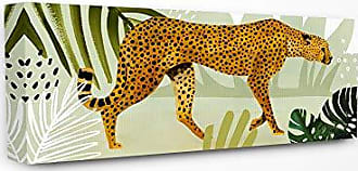 Stupell Industries The Stupell Home Décor Collection Blue and Green Cheetah Forest Tropical Watercolor Stretched Canvas Wall Art, Multi-Color