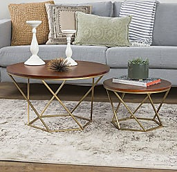 Walker Edison We Furniture Geometric Wood Nesting Coffee Tables Walnut Gold