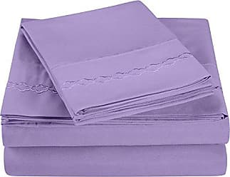 Superior Super Soft Light Weight, 100% Brushed Microfiber, King, Wrinkle Resistant, 4-Piece Sheet Set, Lilac with Cloud Embroidery