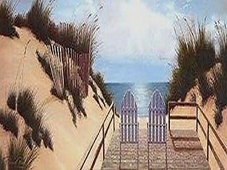 Buyartforless Buyartforless Blue Skies Panel by Diane Romanello 18x6 Art Print Poster Beach Ocean Dunes Chairs Surf