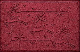 Bungalow Flooring AquaShield Reindeer Row Mat, 2 x 3, Red/Black