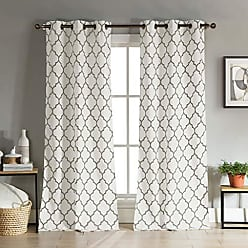 Duck River Textile Mason Geometric Linen Textured Grommet Top Window Curtains for Living Room & Bedroom - Assorted Colors - Set of 2 Panels (38 X 112 Inch - Taupe)
