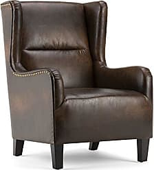 Simpli Home Simpli Home AXCCHR-019-DBR Taylor 28 inch Wide Traditional Wingback Armchair in Distressed Brown Bonded Leather