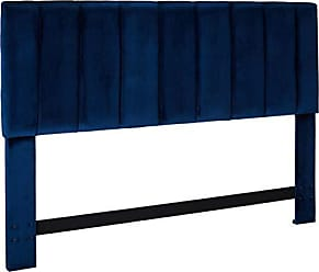 Iconic Home FHB9047-AN Uriella Headboard Velvet Upholstered Vertical Striped Modern Transitional, King, Navy