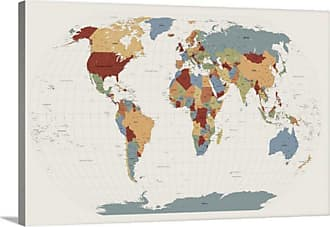 Great Big Canvas World Map Muted Colors by Michael Tompsett Canvas Wall Art - 1019883_24_24X16_NONE