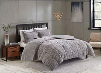 Jla Home JLA Home 3-Pc Vermont Long Faux Fur Bedding Set - Gray - Size:Queen