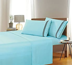 Ben&Jonah Ben & Jonah Simple Elegance Full Size Embroidered Geometric 4 Piece Aqua Sheet Set