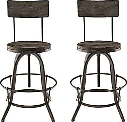 ModWay Modway Procure Modern Farmhouse Pine Wood and Iron Metal Adjustable Height Swivel Bar Stools in Black - Set of 2