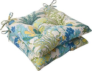 Pillow Perfect Outdoor Splish Splash Tufted Seat Cushion, Blue, Set of 2