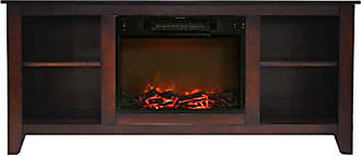 Cambridge Silversmiths CAM6226-1MAH Santa Monica 63 In. Electric Fireplace & Entertainment Stand in Mahogany w/ 1500W Charred Log Insert