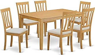 East West Furniture CAAN7-OAK-C 7 PC Dining Room Set - Small Kitchen Table and 6 Kitchen Dining Chairs