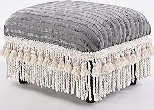 Jennifer Taylor Home 2318-671 Fiona Footstool Ash Grey Striped