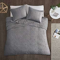 Urban Habitat Intelligent Design Caden Full/Queen Set-Grey, Geometric - 3 Piece Teen Girl Boy 100% Cotton Bed Quilted Coverlet