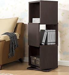 Baxton Studio Ogden 3-Level Rotating Modern Bookshelf - Dark Brown - WI4889