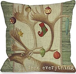 One Bella Casa Deck Everything Antlers Throw Pillow by Kate Ward Thacker, 18x 18, Multi