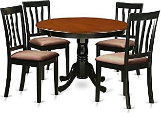 East West Furniture HLAN5-BCH-C 5 PC Hartland Set with 1 Dining Table & 4 Cushion Seat Dinette Chairs in a Black Finish