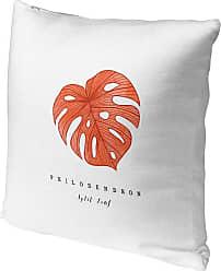 Kavka Designs Orange Tropical Leaf Accent Pillow - IDP-DI16-16X16-TEL8477