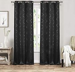 Duck River Textile Blackout365 Stephanie Geometric Blackout Room Darkening Curtain Set of 2 Panels, 37 X 84 Inch, Black, 2 Piece