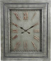 Privilege International Gray Wood and Metal Wall Clock with Glass Roman Numerals