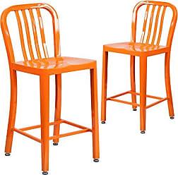 Flash Furniture 2 Pk. 24 High Orange Metal Indoor-Outdoor Counter Height Stool with Vertical Slat Back